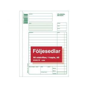 Följesedel A5 med kopia, kr-kolumn, 2x50 blad
