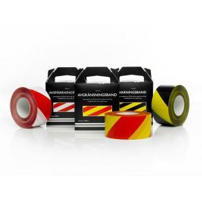 Varningsband gul/röd 75mmx500m