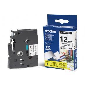 Märkband Brother TX231, svart/vit, 12mm