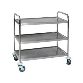 Rullbord, rostfri stål, 3 hyllplan