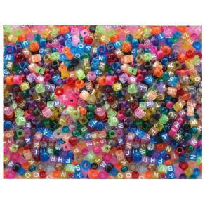 Plastpärlor ABC, med stora hål, 1000/fp