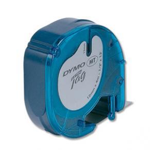 Märkband Dymo LetraTag, plast, svart/blå, 12mm