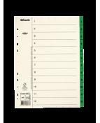 Pärmregister ESSELTE A4 1-12 Grön, flikförstärkt, 10st