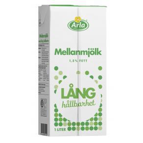 Mjölk mellan med lång hållbarhet 1,5% 1