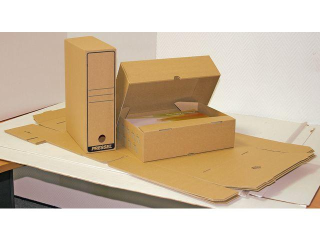 Arkivbox A4, Öppen långsida, 100mm, brun, 20st