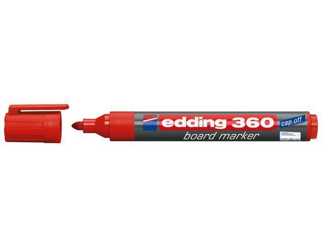 Whiteboardpenna EDDING 360 Röd, torksäker, konisk, 10st 10st