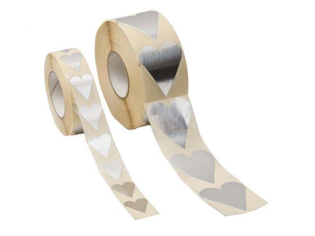 Klistermärke Hjärta Silver, 22x25mm, 1000/rl