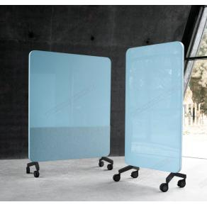 Skrivtavla Lintex Mobile Fabric, 1500x1960mm, Isblå, svart stativ