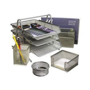 Kontorsset Nät Silver, trådmetall, 5 enheter
