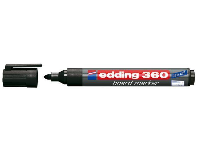Whiteboardpenna EDDING 360 Svart, torksäker, konisk 10st