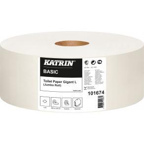 Toalettpapper KATRIN Basic Gigant L, 1-lager, 585m, 6/fp