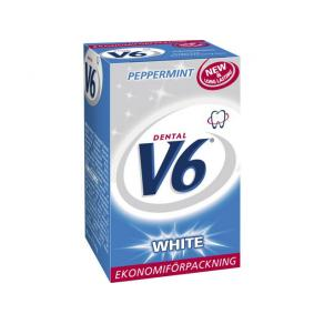 DENTAL V6 Tuggummi White Peppermint ask, 50st