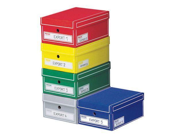 Arkivbox med lock A4 350x255x155mm, olika färger, 10st