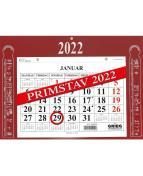 Veggkalender GRIEG magnet Primstav 2022 rød