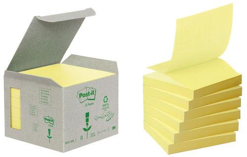 Post-It Z-block Recycled Gul, 6/fp