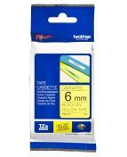 Märkband Brother TZe611, svart/gul, 6mm