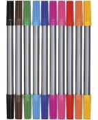 Fiberpenna med dubbelspets 10 färger