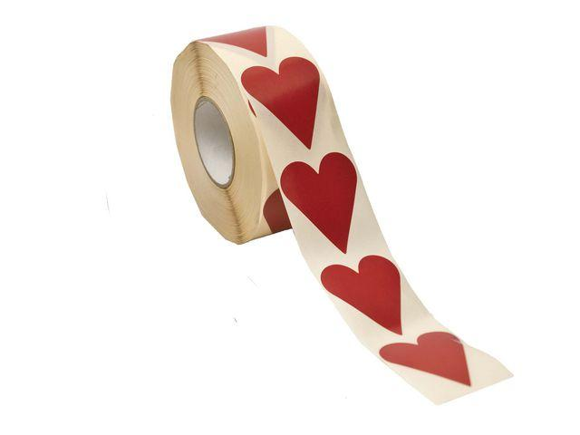 Klistermärke Hjärta Röd, 26x42mm, 1000/rl