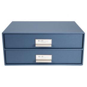 Skrivbordsbyrå kartong 2-lådor blå