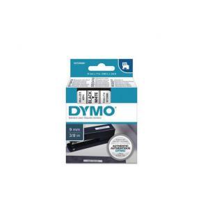 Märkband Dymo D1, plast, svart/vit, 9mm