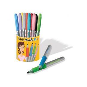 Märkpenna Bic, i pennkopp, 10 färger/fp