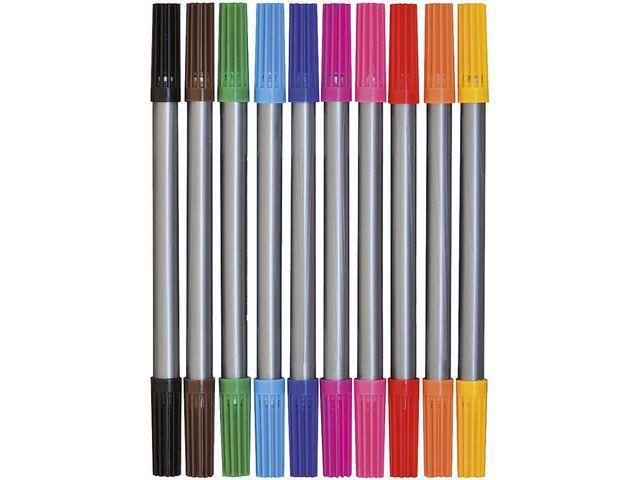 Fiberpenna, med dubbelspets, 10 färger