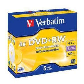 DVD+RW Verbatim Jewelcase, 4,7Gb, 5/fp