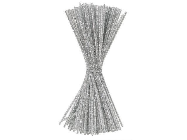Piprensare Glitter Silver, 30cm, 100/fp