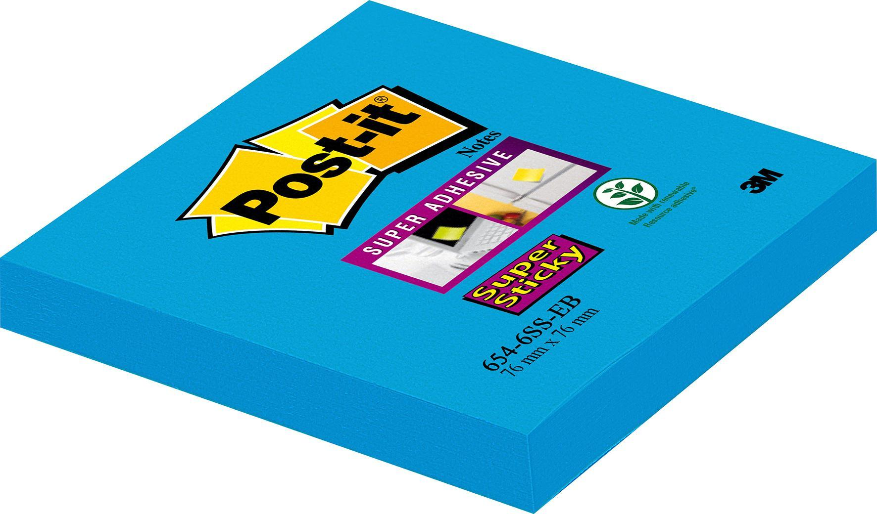 Post-it® Supersticky Notisar Blå, 76x76mm, 6/fp 6st