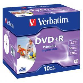 DVD+R VERBATIM 4.7GB Print Jewel 10/FP