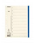 Pärmregister ESSELTE A4 1-10 Blå, flikförstärkt, 10st