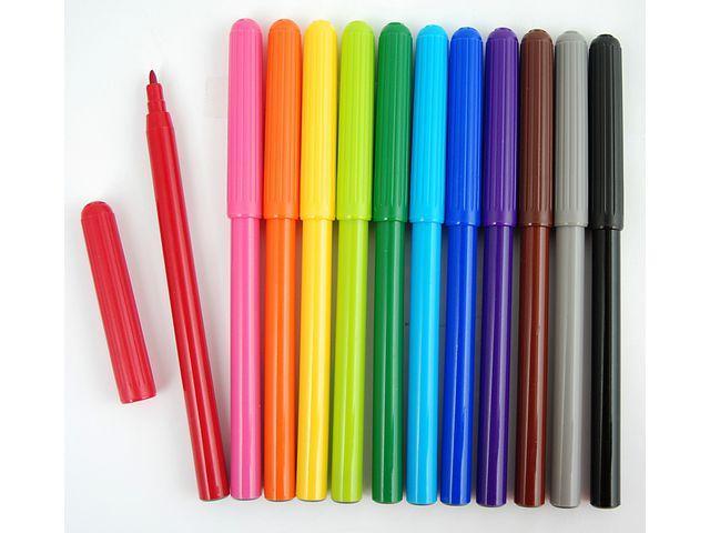 Fiberpenna, 12 färger