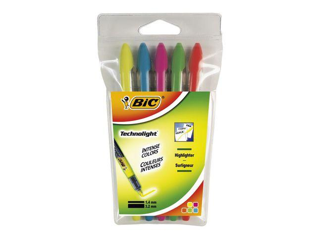 Överstrykningspenna BIC Technolight, 5-pack