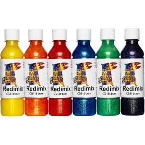 Glitterfärg, 250 ml x 6 färger