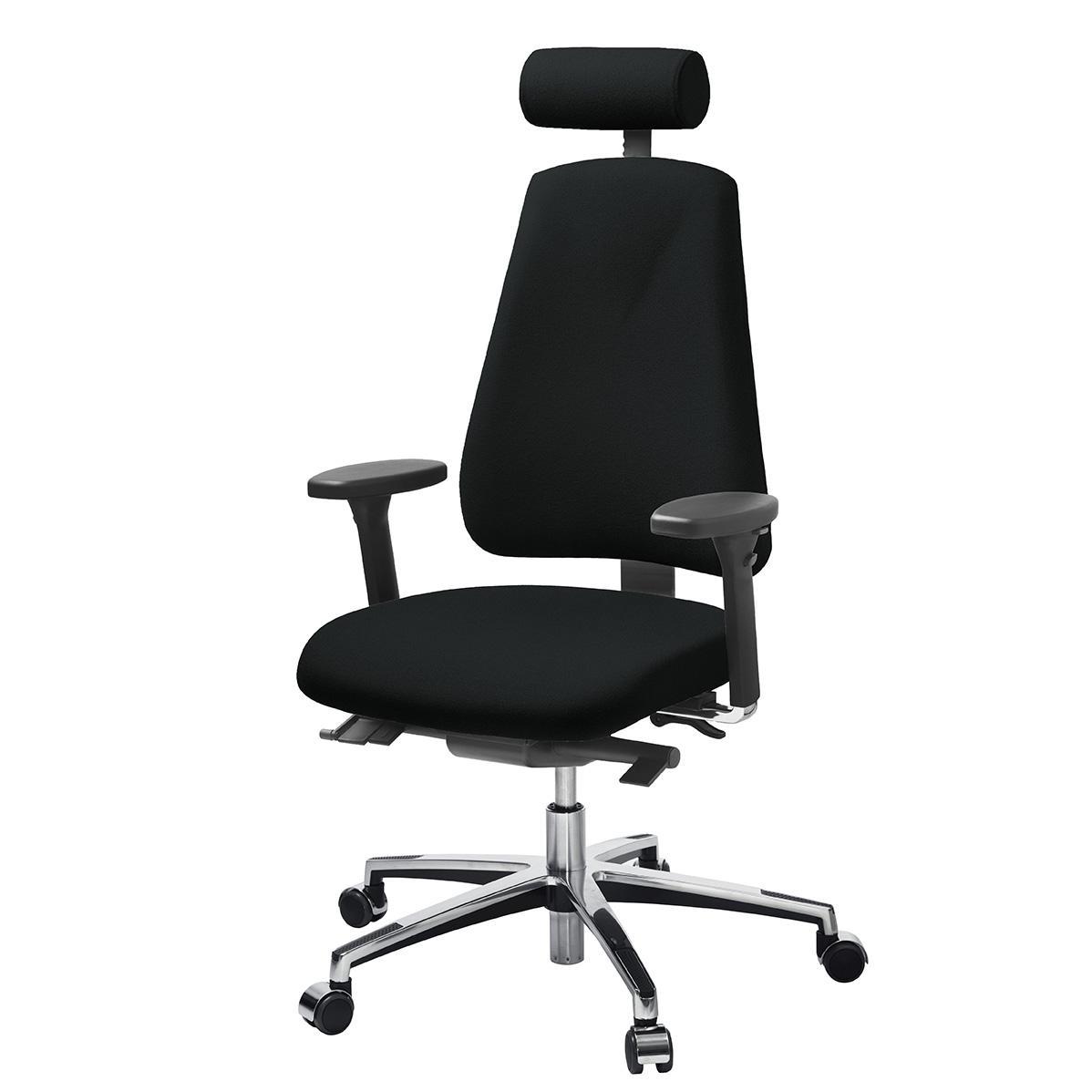 Kontorsstol LANAB LD6340 Multisynkron, svart textil, kromat stativ