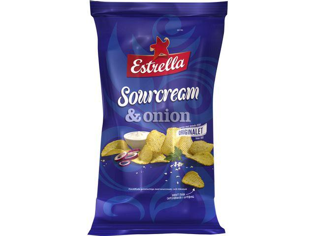 Chips ESTRELLA Sourcream & Onion, 40g, 27st 27st