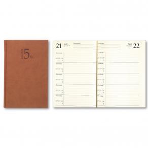 5-Årsdagbok Konstläder Cognac, en dag/sida, 142x205mm