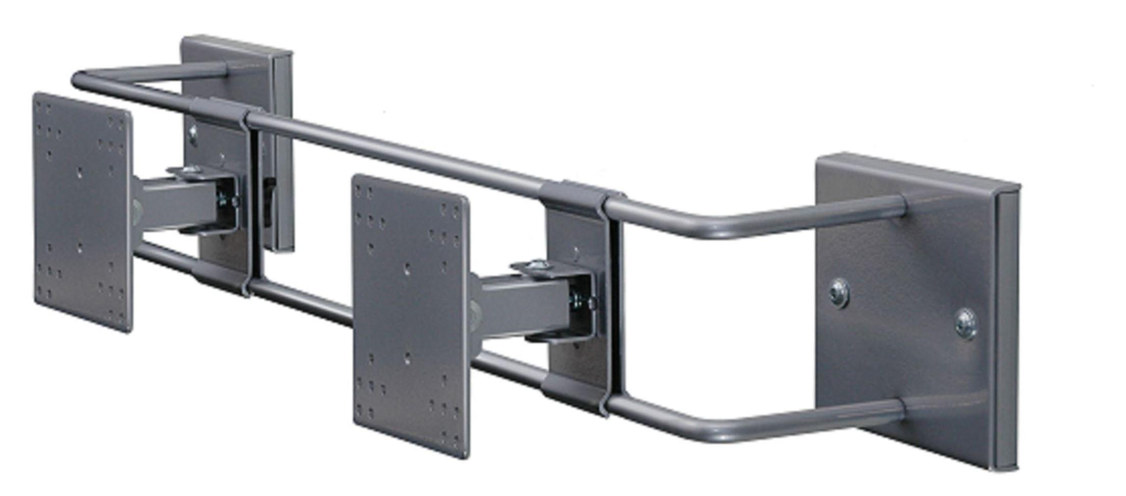 R-Go Double Screen Wall Bracket, adjustable, silver
