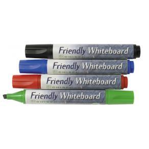Whiteboardpenna FRIENDLY, 4 färger, sned, 4-set