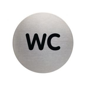 Skylt WC DURABLE 83mm borstat stål