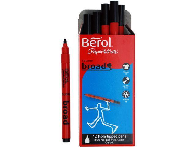 Fiberpenna BEROL Colourbroad Svart, 1,7mm, 12/fp