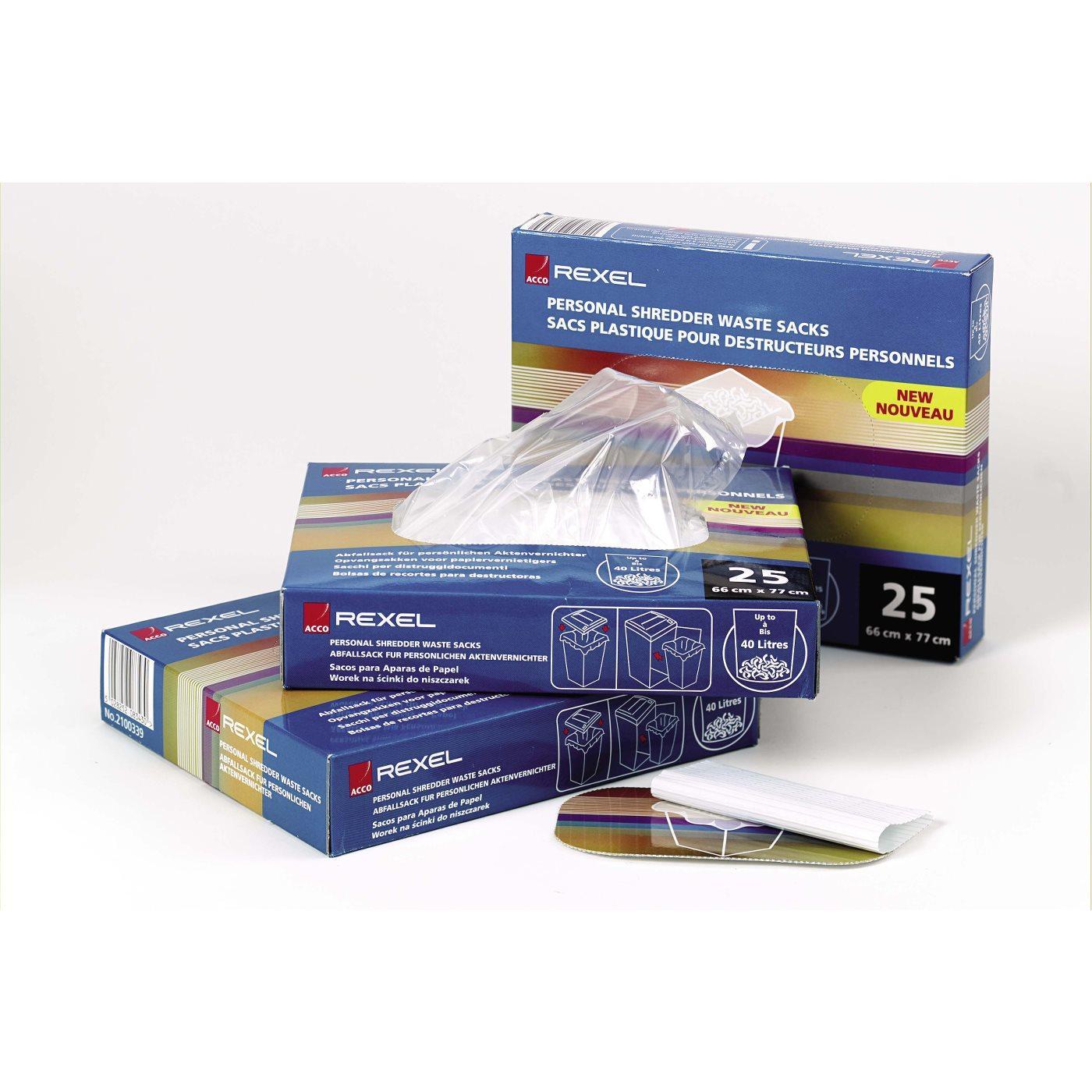 Avfallssäckar Dokumentförstörare REXEL 80L, plast, 100/rl