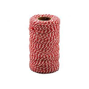 Bomullssnöre 100m x 2mm Röd/vit