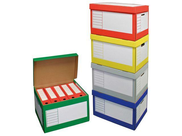 Arkivbox med lock 390x330x290mm, olika färger, 10st