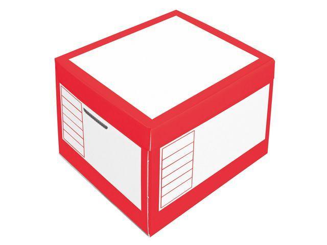 Arkivbox med lock 390x330x290mm, Röd, 10st