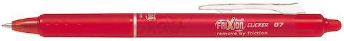 Gelkulpenna PILOT Frixion Clicker Medium Röd, 0.7mm, raderbar