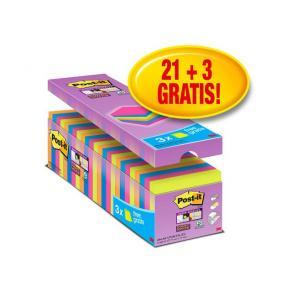Post-it® Supersticky mix + 3 gratis, 76x76mm, 24/FP