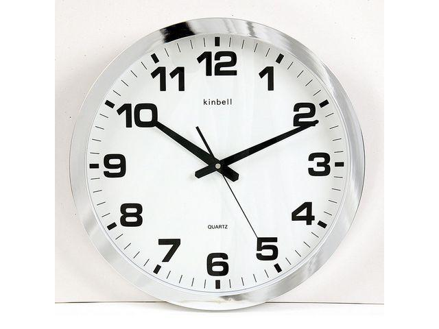 Väggklocka Kinbell Silver, glaslins, Ø 40cm