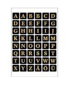 Herma etikett bokstäver A-Z 13x13 guld/svart