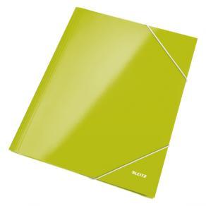 Snoddmapp LEITZ WOW Laminerad Kartong A4, 3-klaff, 250ark, Grön